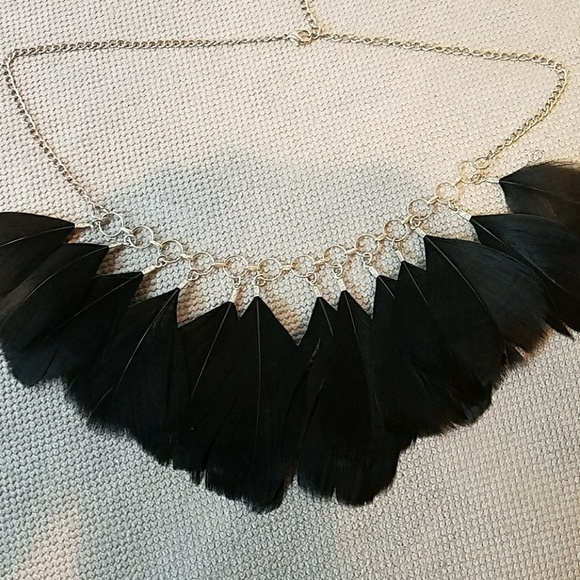 a3abd8d8c4b26 Feather necklace black feathers w silver chain
